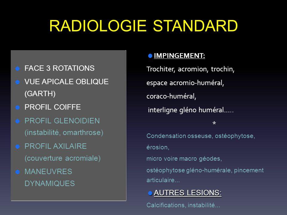 RADIOLOGIE STANDARD FACE 3 ROTATIONS VUE APICALE OBLIQUE (GARTH) PROFIL COIFFE PROFIL GLENOIDIEN (instabilité, omarthrose) PROFIL AXILAIRE (couverture