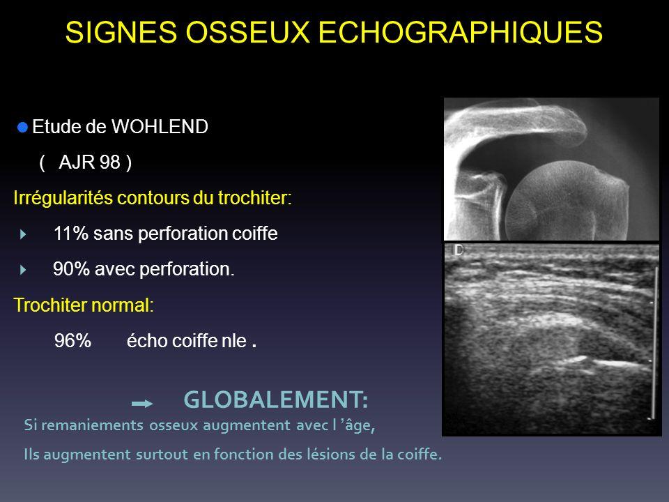 SIGNES OSSEUX ECHOGRAPHIQUES Etude de WOHLEND ( AJR 98 ) Irrégularités contours du trochiter: 11% sans perforation coiffe 90% avec perforation. Trochi