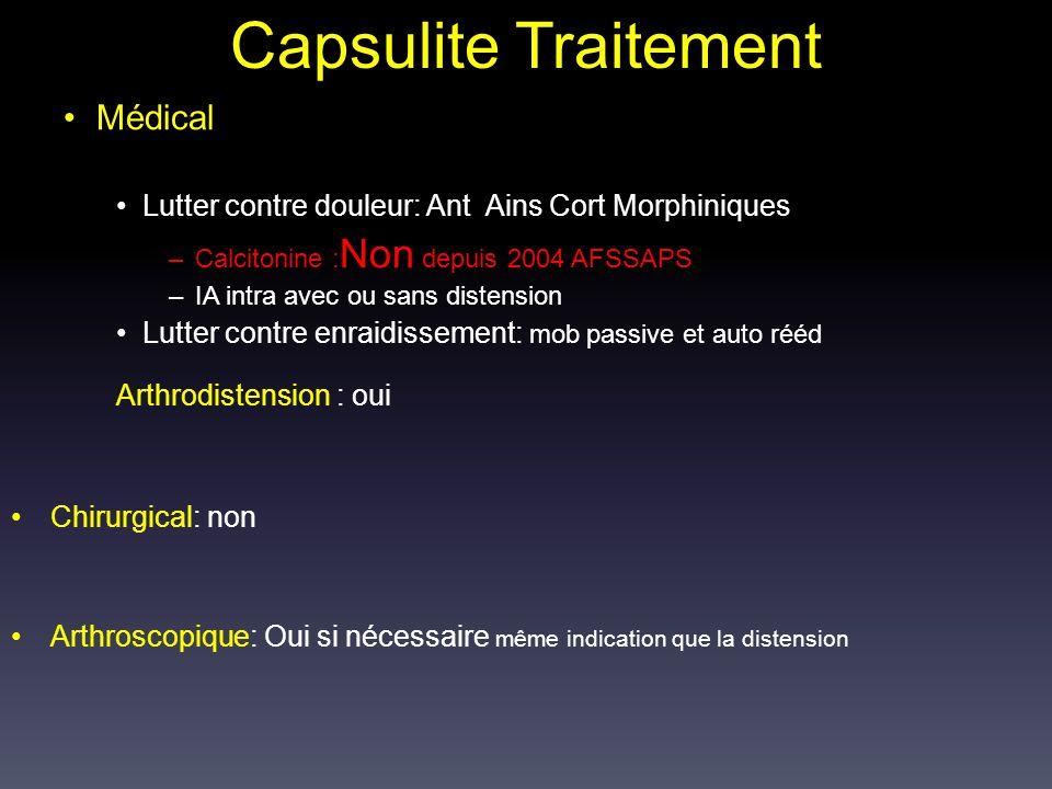Capsulite Traitement Médical Lutter contre douleur: Ant Ains Cort Morphiniques –Calcitonine : Non depuis 2004 AFSSAPS –IA intra avec ou sans distensio