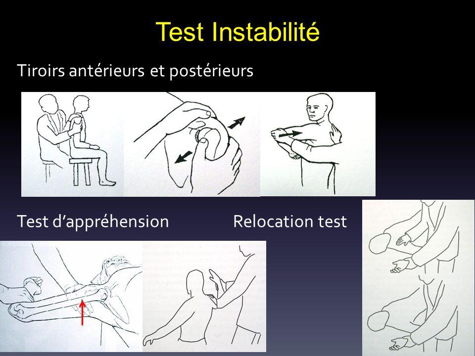 Test Instabilité Tiroirs antérieurs et postérieurs Test dappréhension Relocation test