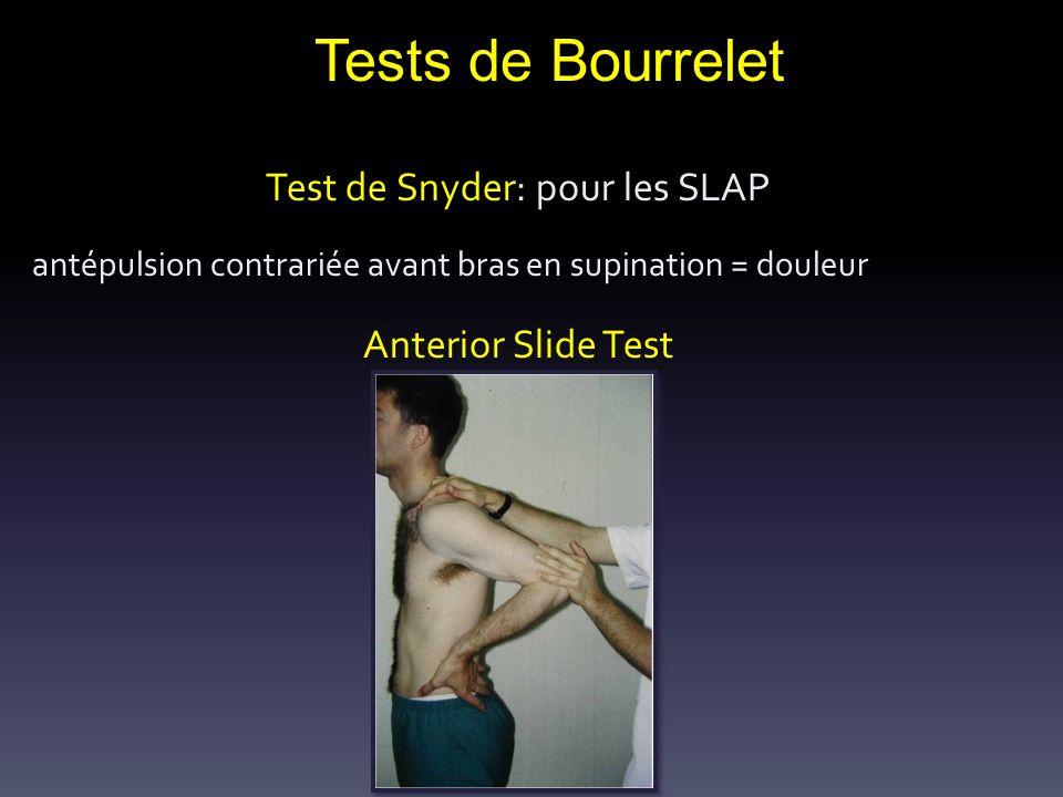 Tests de Bourrelet Test de Snyder: pour les SLAP antépulsion contrariée avant bras en supination = douleur Anterior Slide Test