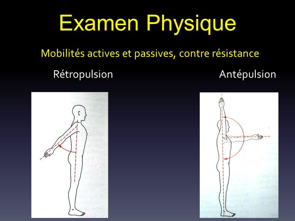 Examen Physique Mobilités actives et passives, contre résistance Rétropulsion Antépulsion
