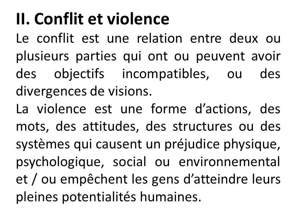 II. Conflit et violence Le conflit est une relation entre deux ou plusieurs parties qui ont ou peuvent avoir des objectifs incompatibles, ou des diver