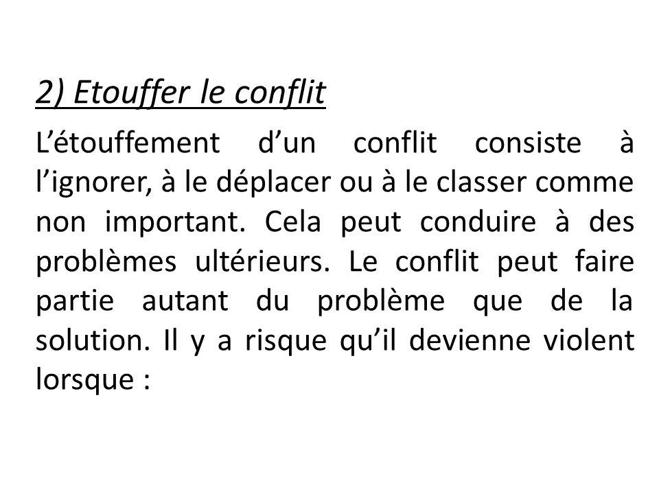 2) Etouffer le conflit Létouffement dun conflit consiste à lignorer, à le déplacer ou à le classer comme non important. Cela peut conduire à des probl