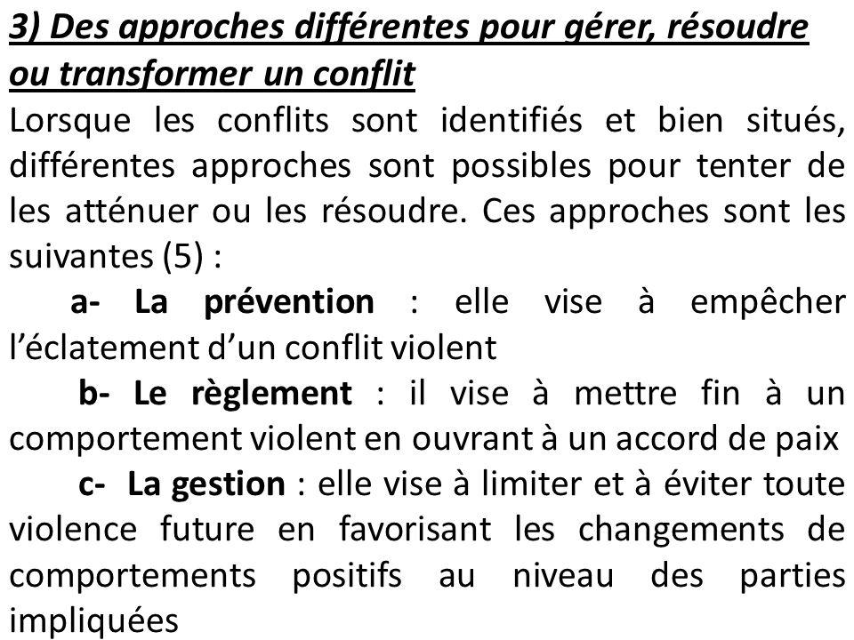 3) Des approches différentes pour gérer, résoudre ou transformer un conflit Lorsque les conflits sont identifiés et bien situés, différentes approches