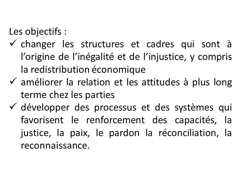 Les objectifs : changer les structures et cadres qui sont à lorigine de linégalité et de linjustice, y compris la redistribution économique améliorer