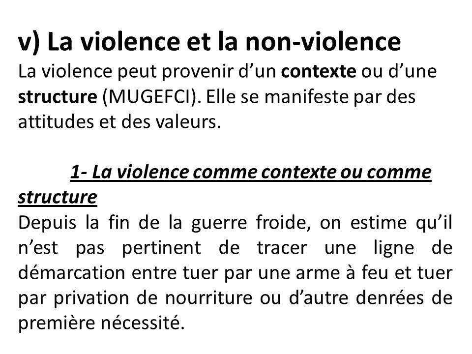 v) La violence et la non-violence La violence peut provenir dun contexte ou dune structure (MUGEFCI). Elle se manifeste par des attitudes et des valeu