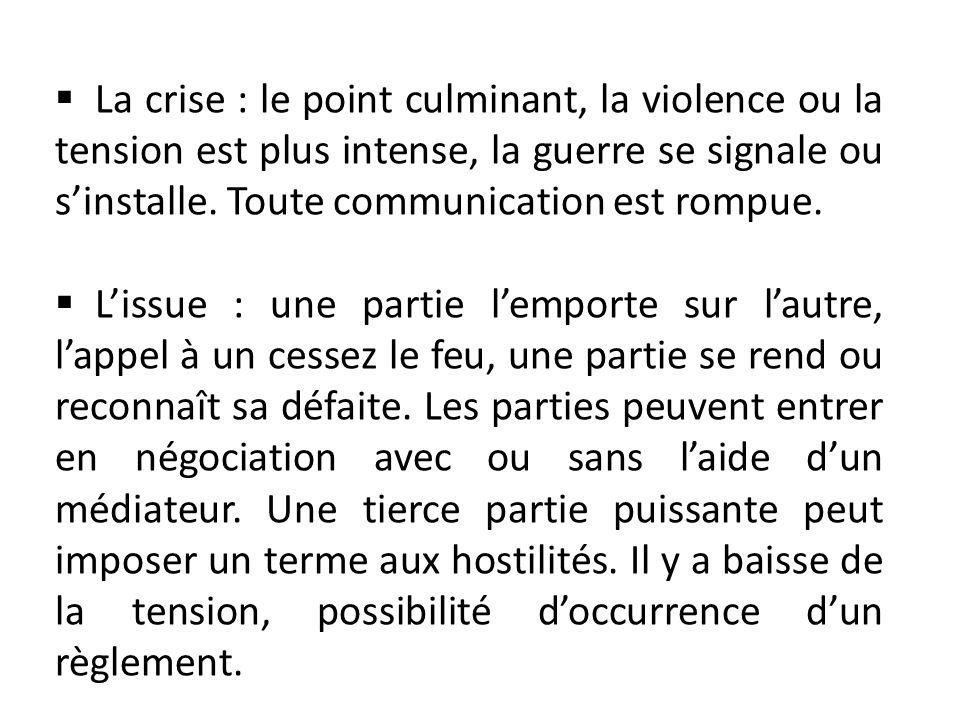 La crise : le point culminant, la violence ou la tension est plus intense, la guerre se signale ou sinstalle. Toute communication est rompue. Lissue :