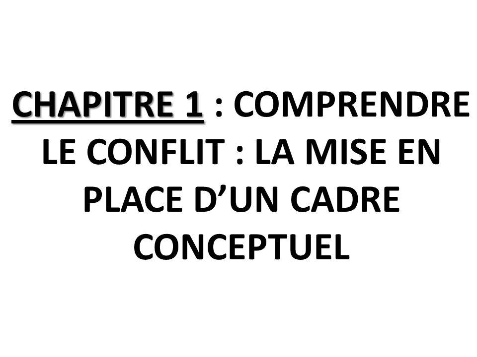 CHAPITRE 1 CHAPITRE 1 : COMPRENDRE LE CONFLIT : LA MISE EN PLACE DUN CADRE CONCEPTUEL