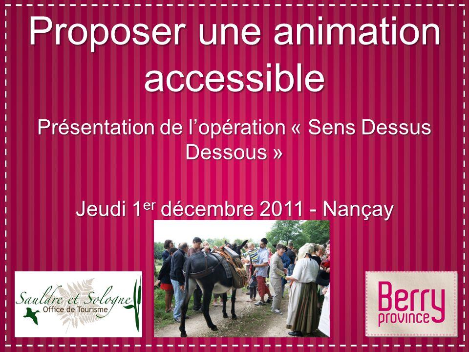 Proposer une animation accessible Présentation de lopération « Sens Dessus Dessous » Jeudi 1 er décembre 2011 - Nançay