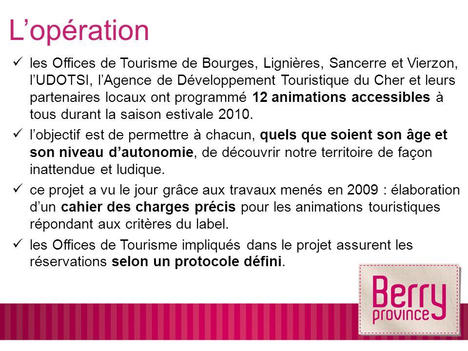 les Offices de Tourisme de Bourges, Lignières, Sancerre et Vierzon, lUDOTSI, lAgence de Développement Touristique du Cher et leurs partenaires locaux ont programmé 12 animations accessibles à tous durant la saison estivale 2010.