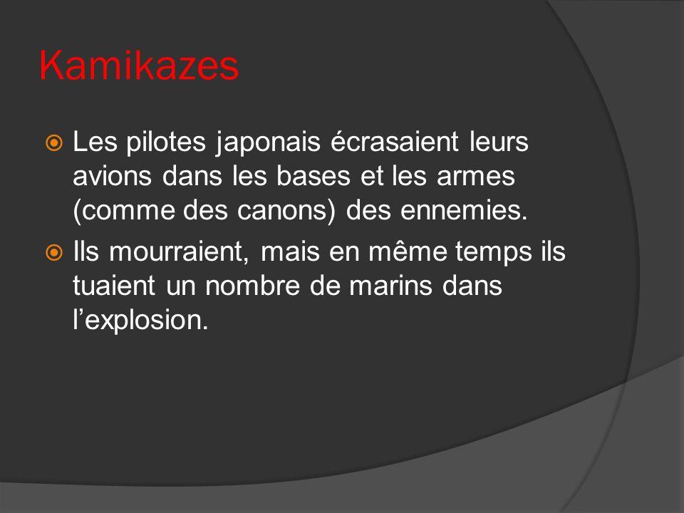 Kamikazes Les pilotes japonais écrasaient leurs avions dans les bases et les armes (comme des canons) des ennemies. Ils mourraient, mais en même temps