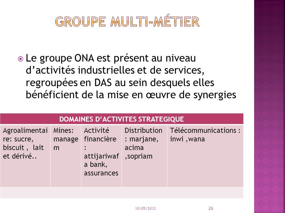 Le groupe ONA est présent au niveau dactivités industrielles et de services, regroupées en DAS au sein desquels elles bénéficient de la mise en œuvre