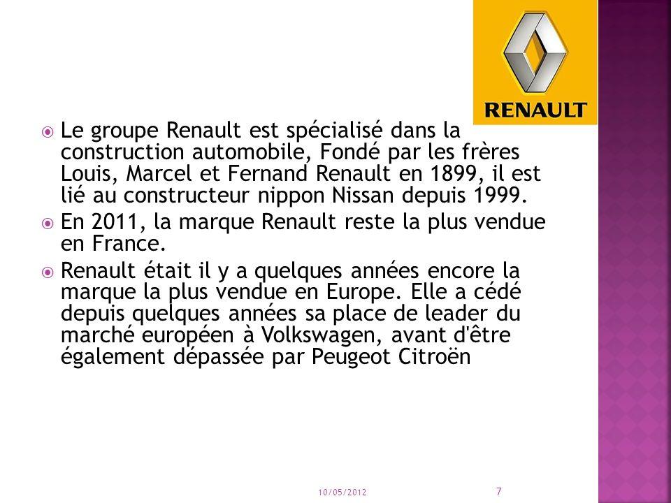 Le groupe Renault est spécialisé dans la construction automobile, Fondé par les frères Louis, Marcel et Fernand Renault en 1899, il est lié au constructeur nippon Nissan depuis 1999.
