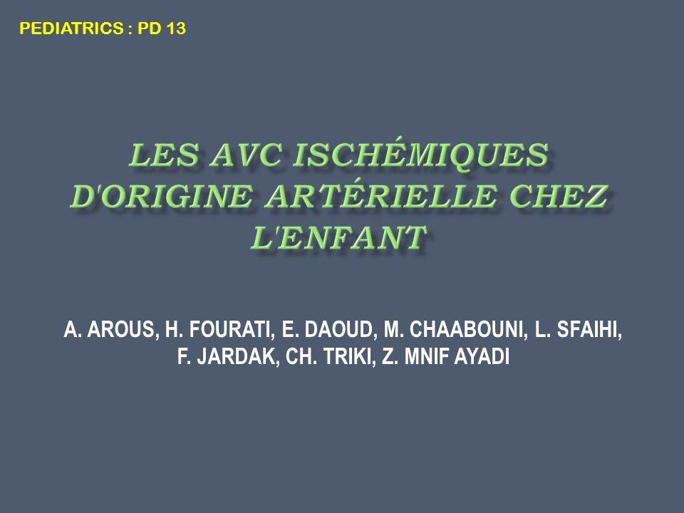 A. AROUS, H. FOURATI, E. DAOUD, M. CHAABOUNI, L. SFAIHI, F. JARDAK, CH. TRIKI, Z. MNIF AYADI PEDIATRICS : PD 13