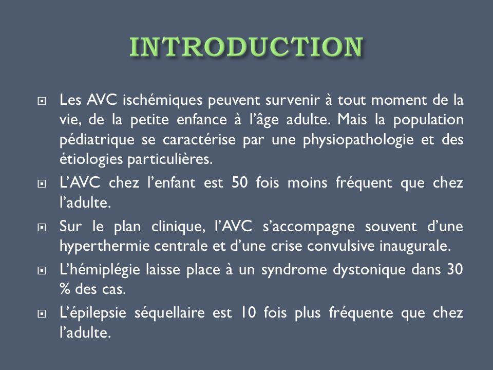 Les AVC ischémiques peuvent survenir à tout moment de la vie, de la petite enfance à lâge adulte. Mais la population pédiatrique se caractérise par un