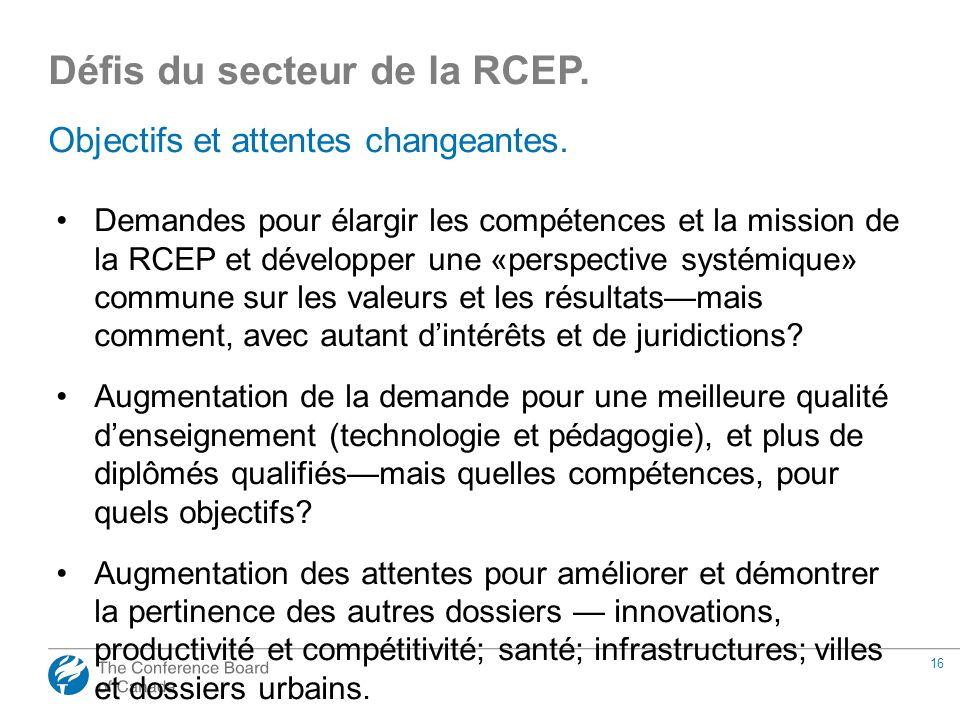 16 Objectifs et attentes changeantes. Demandes pour élargir les compétences et la mission de la RCEP et développer une «perspective systémique» commun