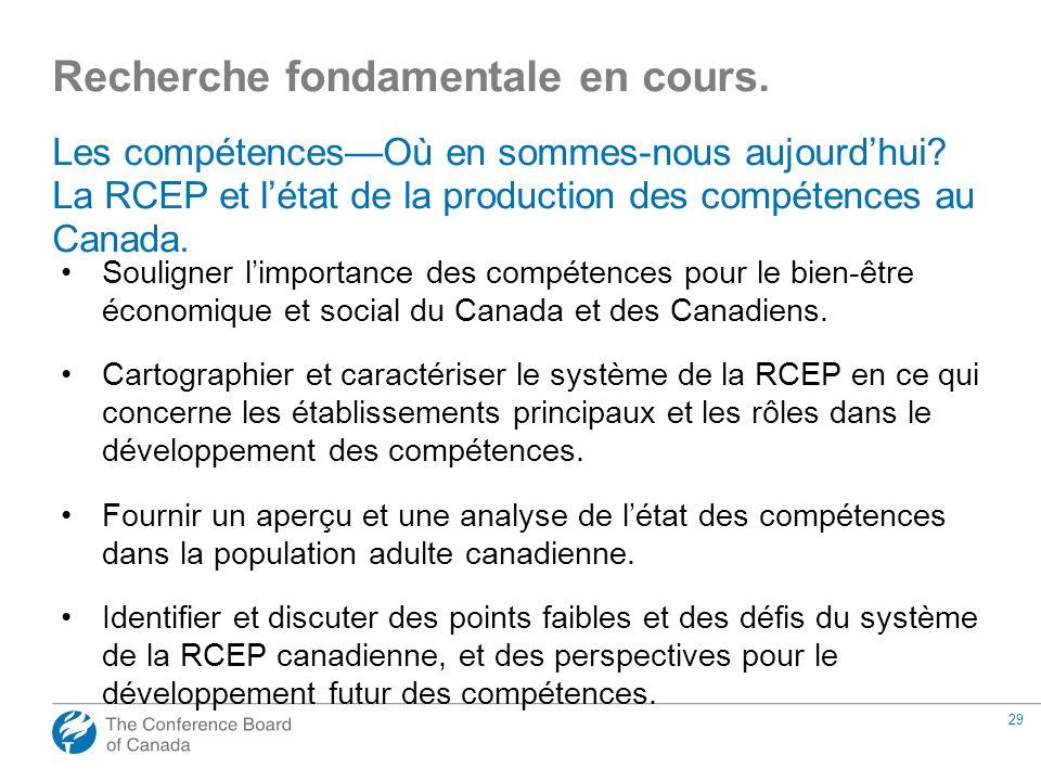 29 Les compétencesOù en sommes-nous aujourdhui? La RCEP et létat de la production des compétences au Canada. Souligner limportance des compétences pou