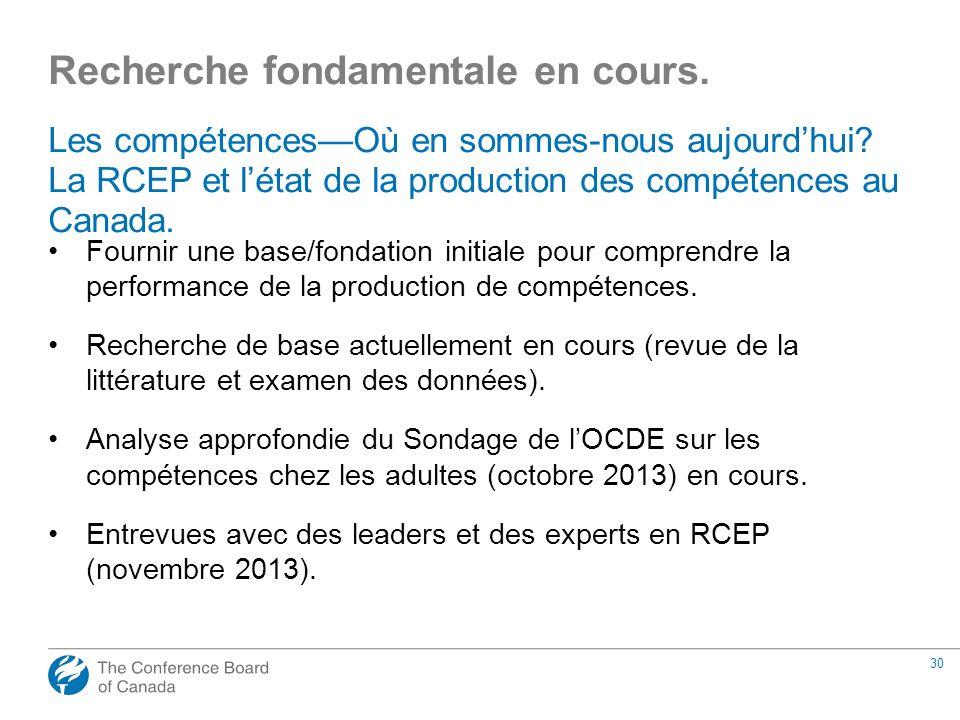 30 Les compétencesOù en sommes-nous aujourdhui? La RCEP et létat de la production des compétences au Canada. Fournir une base/fondation initiale pour