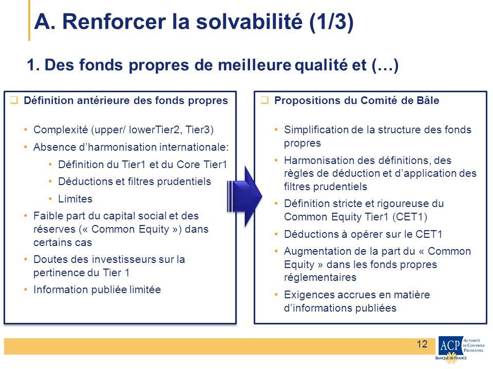 Banque de France – Secrétariat général de la Commission bancaire Banque de France – Autorité de Contrôle Prudentiel 1. Des fonds propres de meilleure