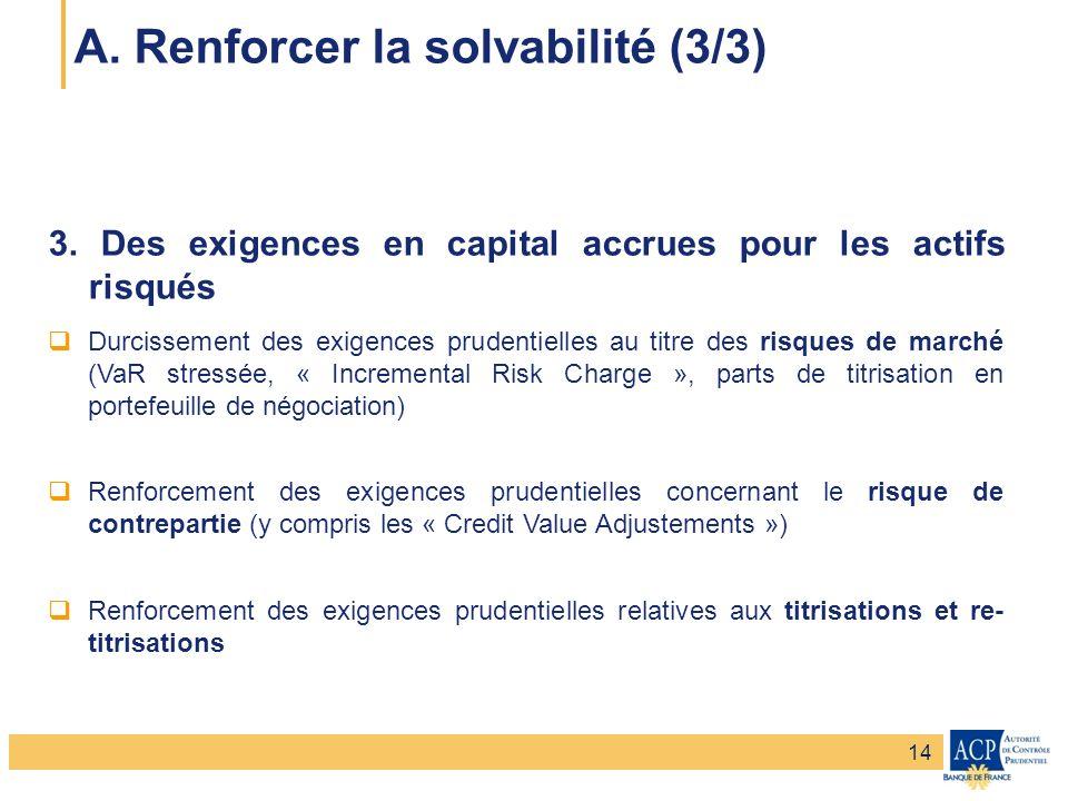 Banque de France – Secrétariat général de la Commission bancaire Banque de France – Autorité de Contrôle Prudentiel 3. Des exigences en capital accrue