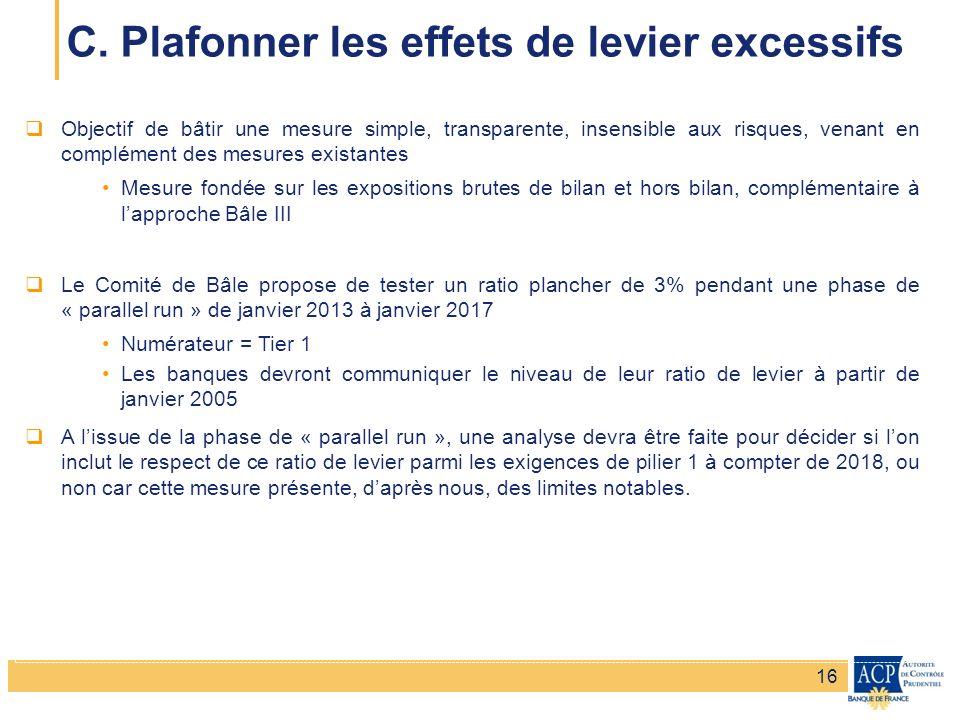Banque de France – Secrétariat général de la Commission bancaire Banque de France – Autorité de Contrôle Prudentiel Objectif de bâtir une mesure simpl