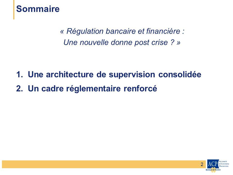 Banque de France – Secrétariat général de la Commission bancaire Banque de France – Autorité de Contrôle Prudentiel Sommaire 1.Une architecture de supervision consolidée 2.Un cadre réglementaire renforcé 3