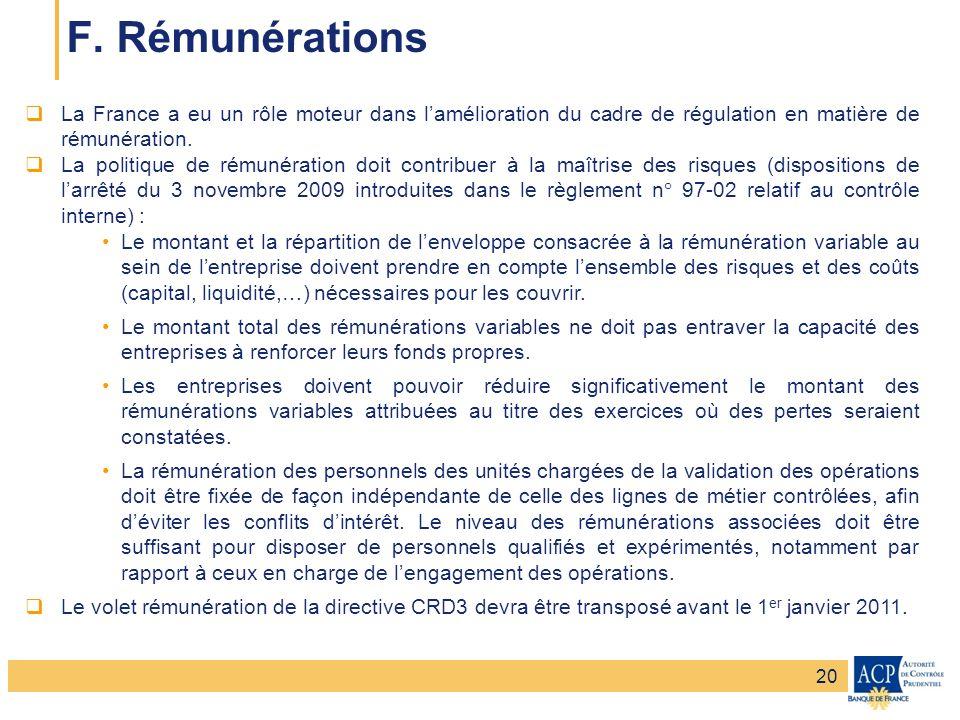 Banque de France – Secrétariat général de la Commission bancaire Banque de France – Autorité de Contrôle Prudentiel F. Rémunérations La France a eu un