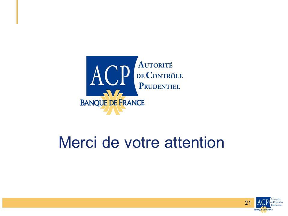Banque de France – Secrétariat général de la Commission bancaire Banque de France – Autorité de Contrôle Prudentiel Merci de votre attention 21