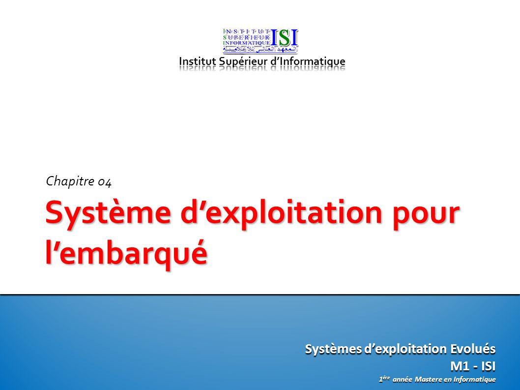 Systèmes dexploitation Evolués M1 - ISI 1 ére année Mastere en Informatique Système dexploitation pour lembarqué Chapitre 04