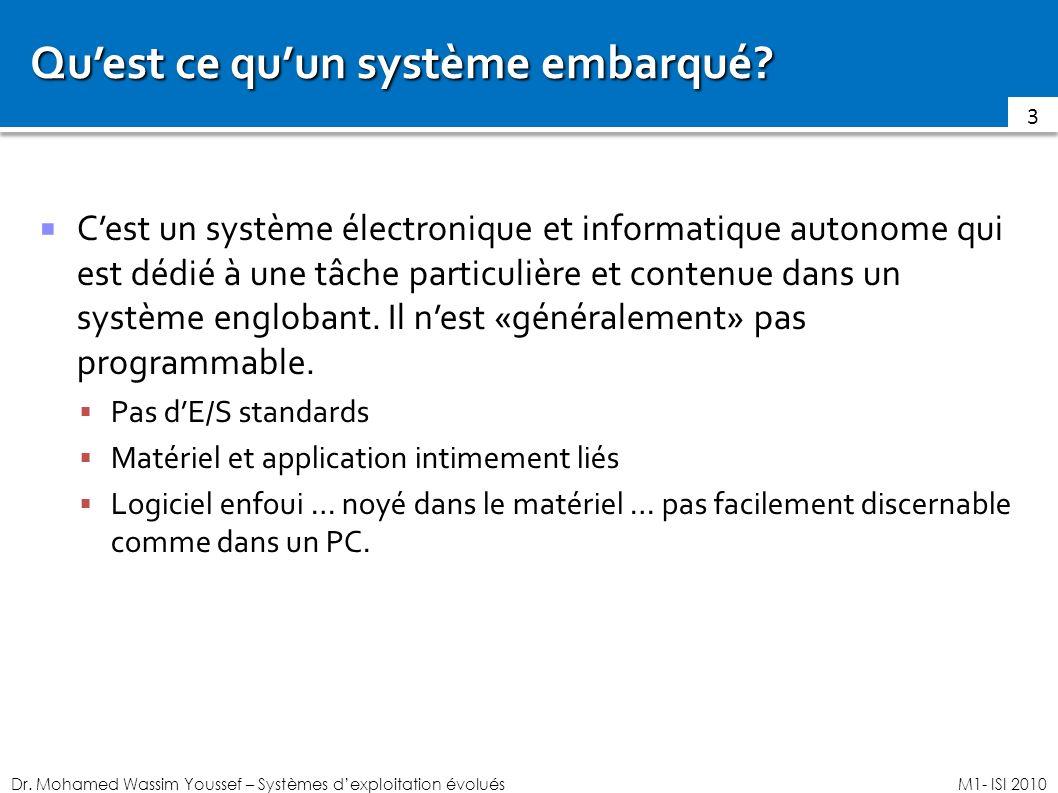 Dr. Mohamed Wassim Youssef – Systèmes dexploitation évoluésM1- ISI 2010 Quest ce quun système embarqué? Cest un système électronique et informatique a