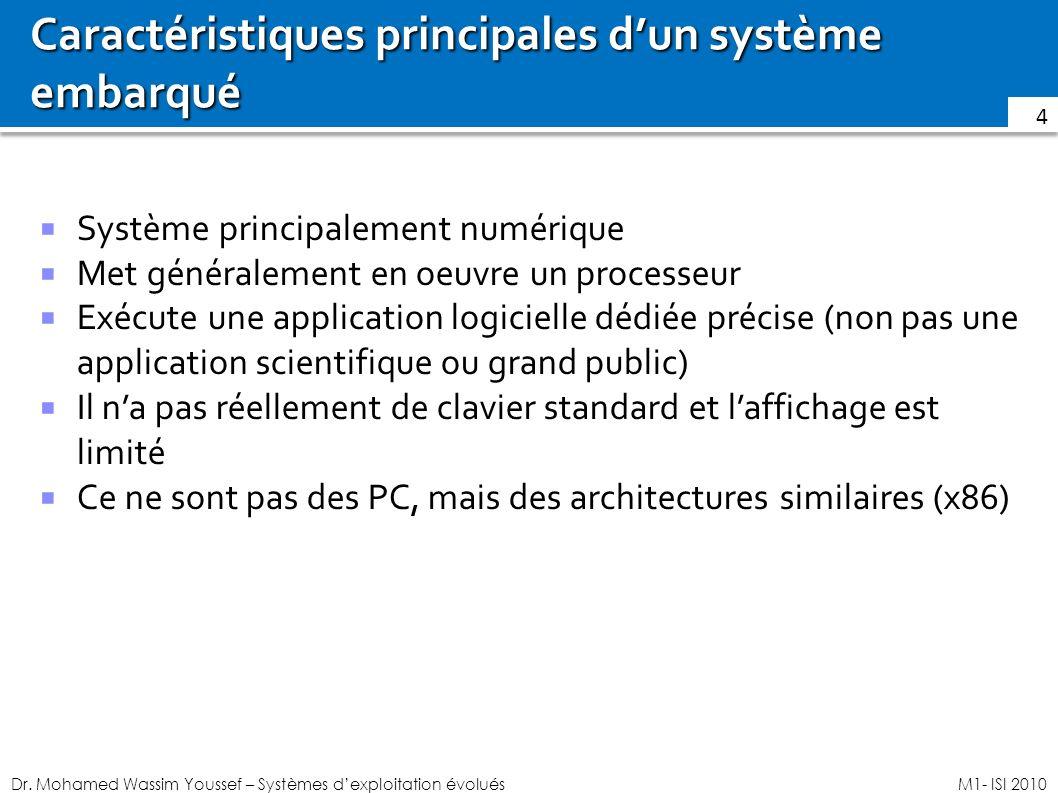 Dr. Mohamed Wassim Youssef – Systèmes dexploitation évoluésM1- ISI 2010 Caractéristiques principales dun système embarqué Système principalement numér