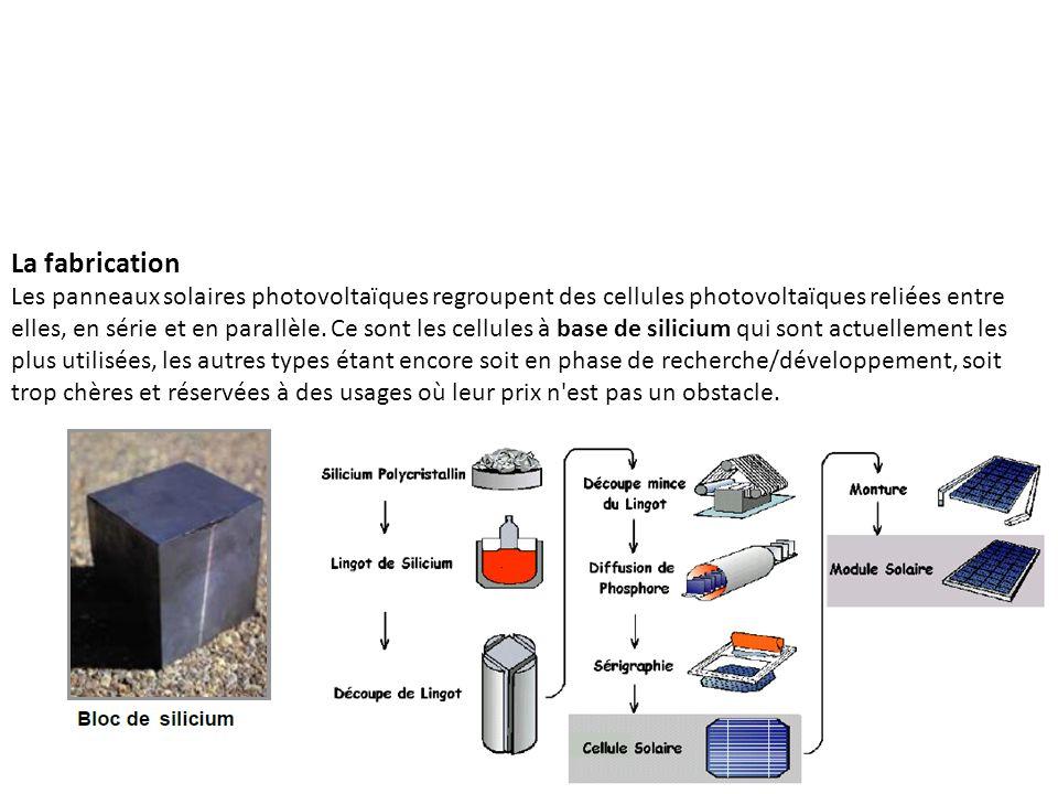 La fabrication Les panneaux solaires photovoltaïques regroupent des cellules photovoltaïques reliées entre elles, en série et en parallèle. Ce sont le