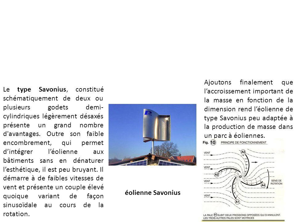 éolienne Savonius Le type Savonius, constitué schématiquement de deux ou plusieurs godets demi- cylindriques légèrement désaxés présente un grand nomb
