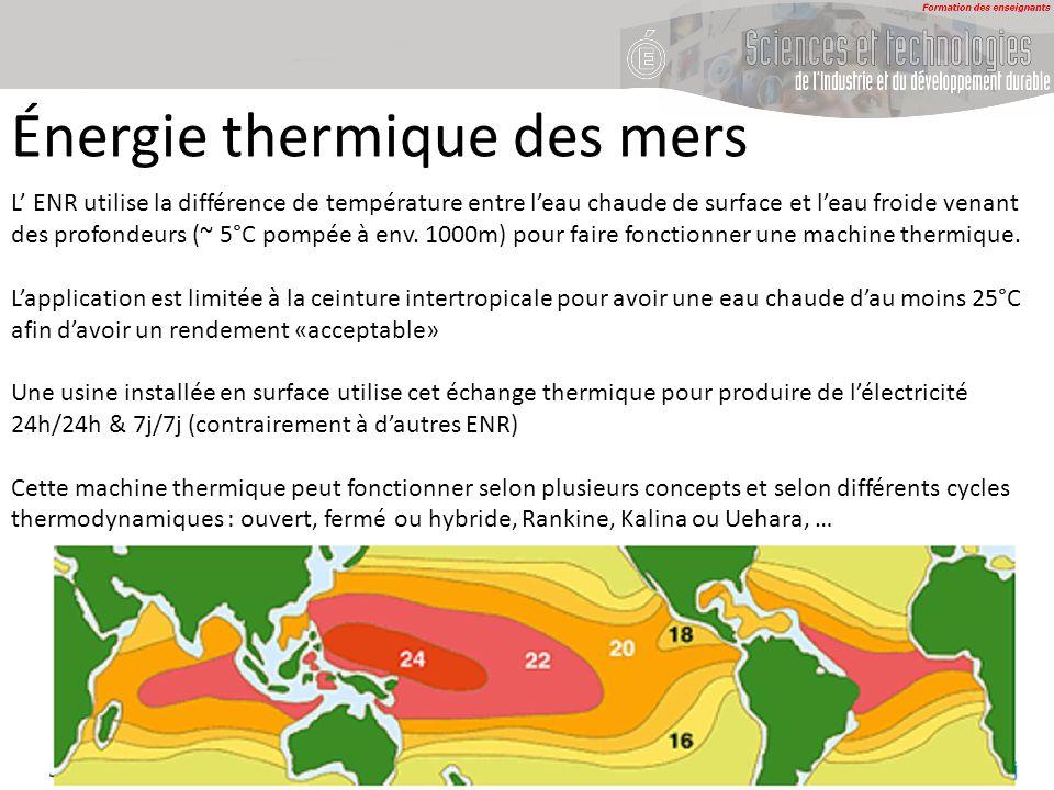 Énergie thermique des mers L ENR utilise la différence de température entre leau chaude de surface et leau froide venant des profondeurs (~ 5°C pompée