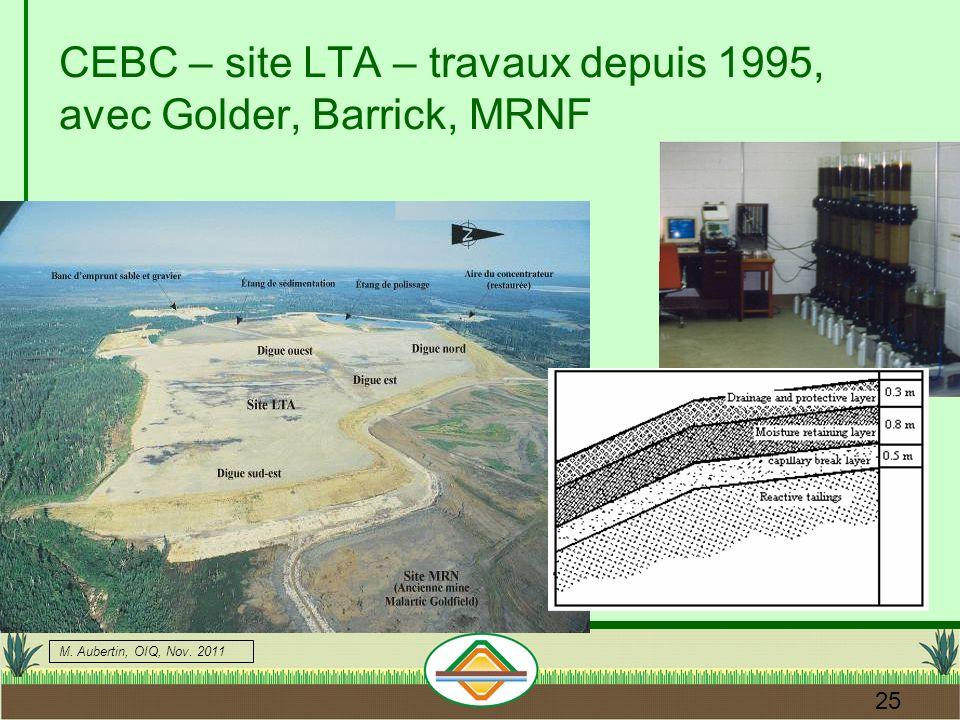 M. Aubertin, OIQ, Nov. 2011 25 CEBC – site LTA – travaux depuis 1995, avec Golder, Barrick, MRNF
