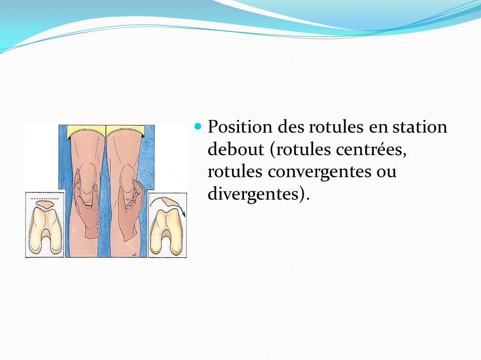 Position des rotules en station debout (rotules centrées, rotules convergentes ou divergentes).