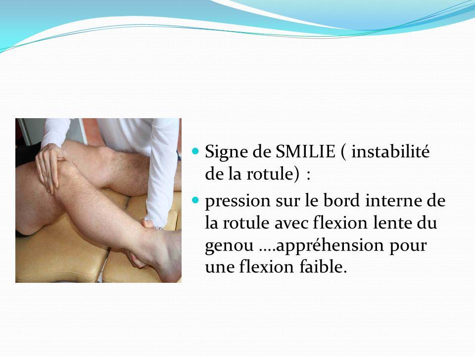Signe de SMILIE ( instabilité de la rotule) : pression sur le bord interne de la rotule avec flexion lente du genou ….appréhension pour une flexion fa