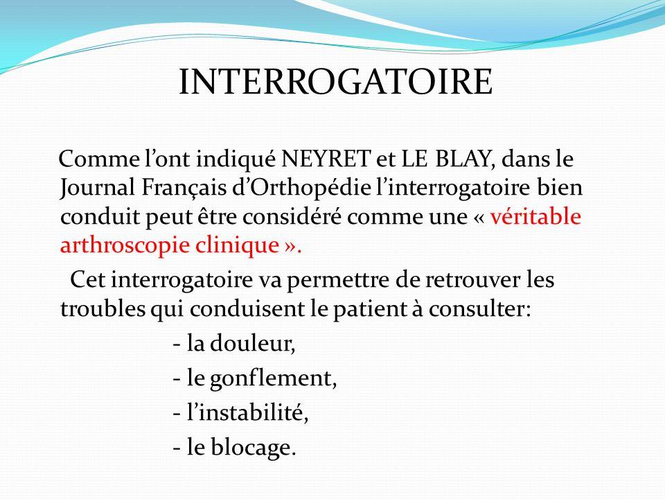 INTERROGATOIRE Comme lont indiqué NEYRET et LE BLAY, dans le Journal Français dOrthopédie linterrogatoire bien conduit peut être considéré comme une «