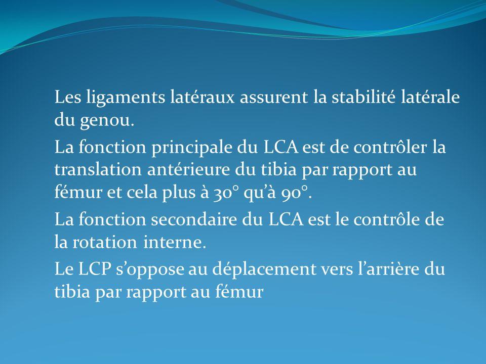 Les ligaments latéraux assurent la stabilité latérale du genou. La fonction principale du LCA est de contrôler la translation antérieure du tibia par