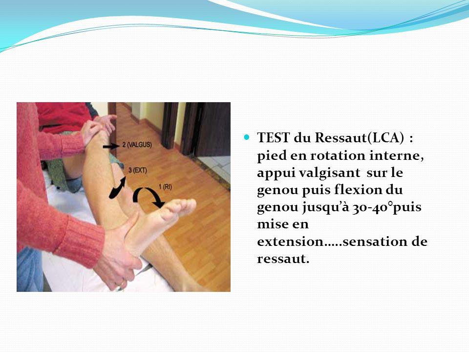 TEST du Ressaut(LCA) : pied en rotation interne, appui valgisant sur le genou puis flexion du genou jusquà 30-40°puis mise en extension…..sensation de