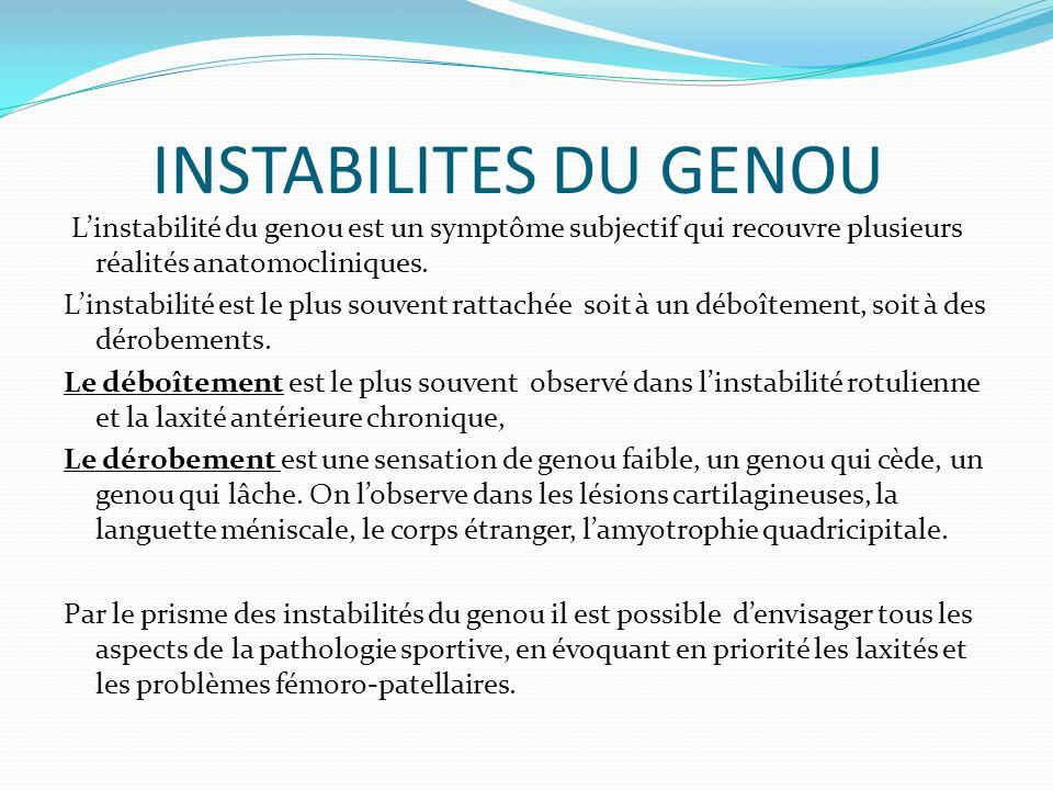 INSTABILITES DU GENOU Linstabilité du genou est un symptôme subjectif qui recouvre plusieurs réalités anatomocliniques. Linstabilité est le plus souve