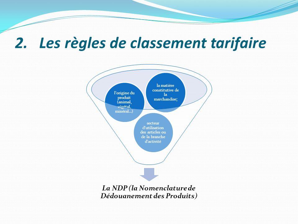 2.Les règles de classement tarifaire La NDP (la Nomenclature de Dédouanement des Produits) secteur dutilisation des articles ou de la branche dactivit