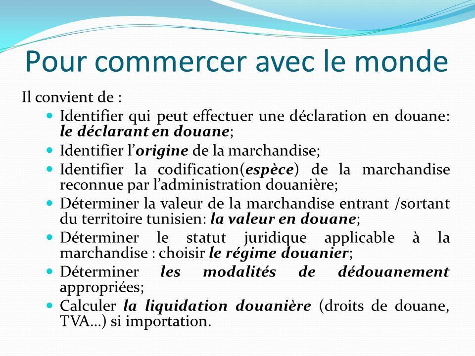 Pour commercer avec le monde Il convient de : Identifier qui peut effectuer une déclaration en douane: le déclarant en douane; Identifier lorigine de