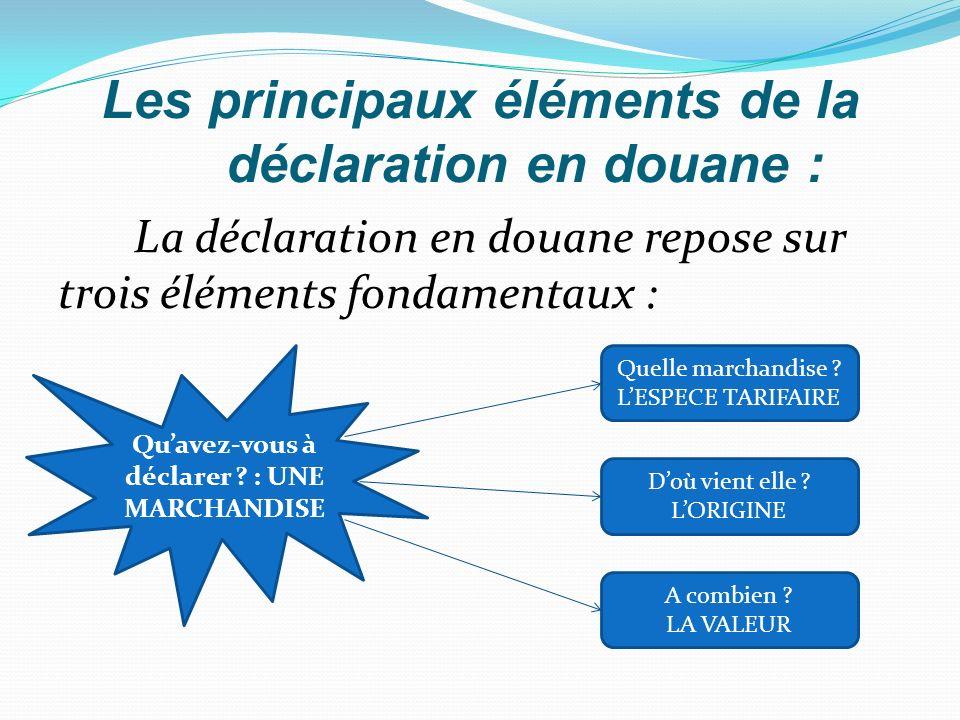 Les principaux éléments de la déclaration en douane : La déclaration en douane repose sur trois éléments fondamentaux : Quavez-vous à déclarer ? : UNE