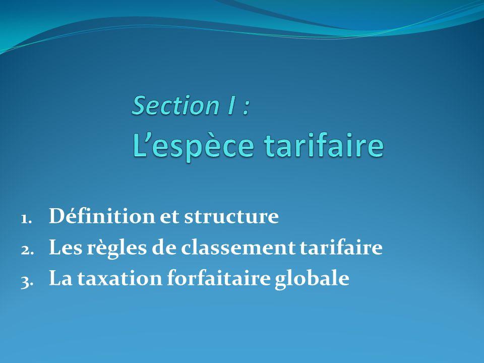 1. Définition et structure 2. Les règles de classement tarifaire 3. La taxation forfaitaire globale