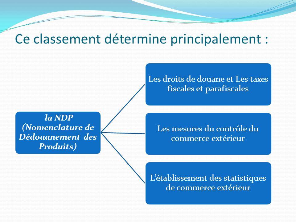 Ce classement détermine principalement : la NDP (Nomenclature de Dédouanement des Produits) Les droits de douane et Les taxes fiscales et parafiscales