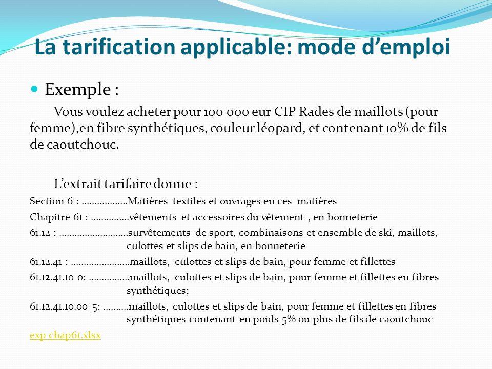 La tarification applicable: mode demploi Exemple : Vous voulez acheter pour 100 000 eur CIP Rades de maillots (pour femme),en fibre synthétiques, coul