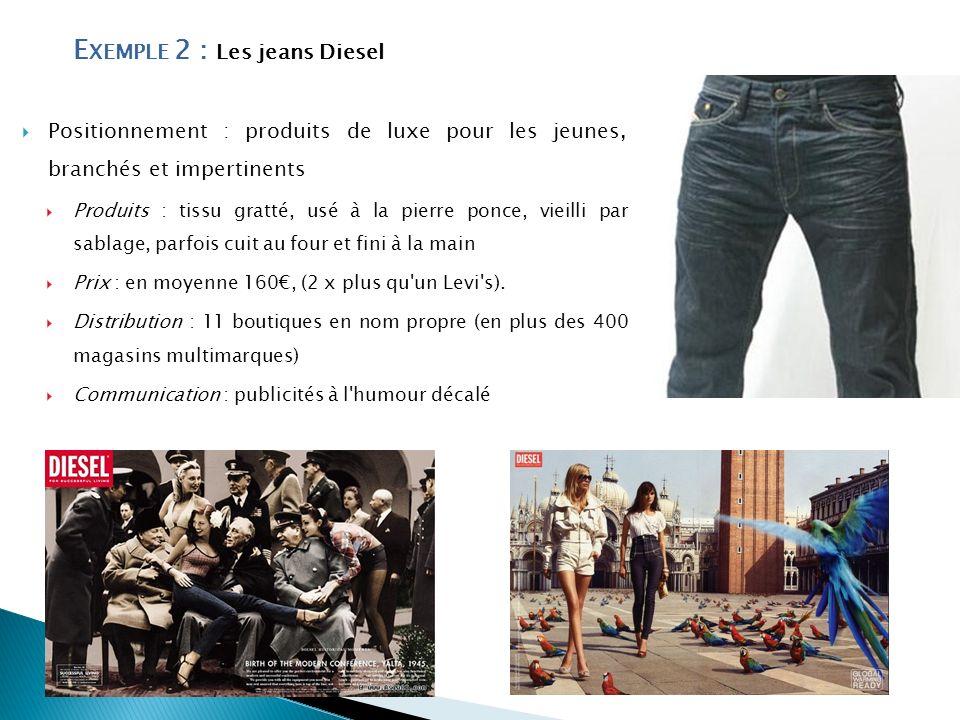 E XEMPLE 2 : Les jeans Diesel Positionnement : produits de luxe pour les jeunes, branchés et impertinents Produits : tissu gratté, usé à la pierre pon