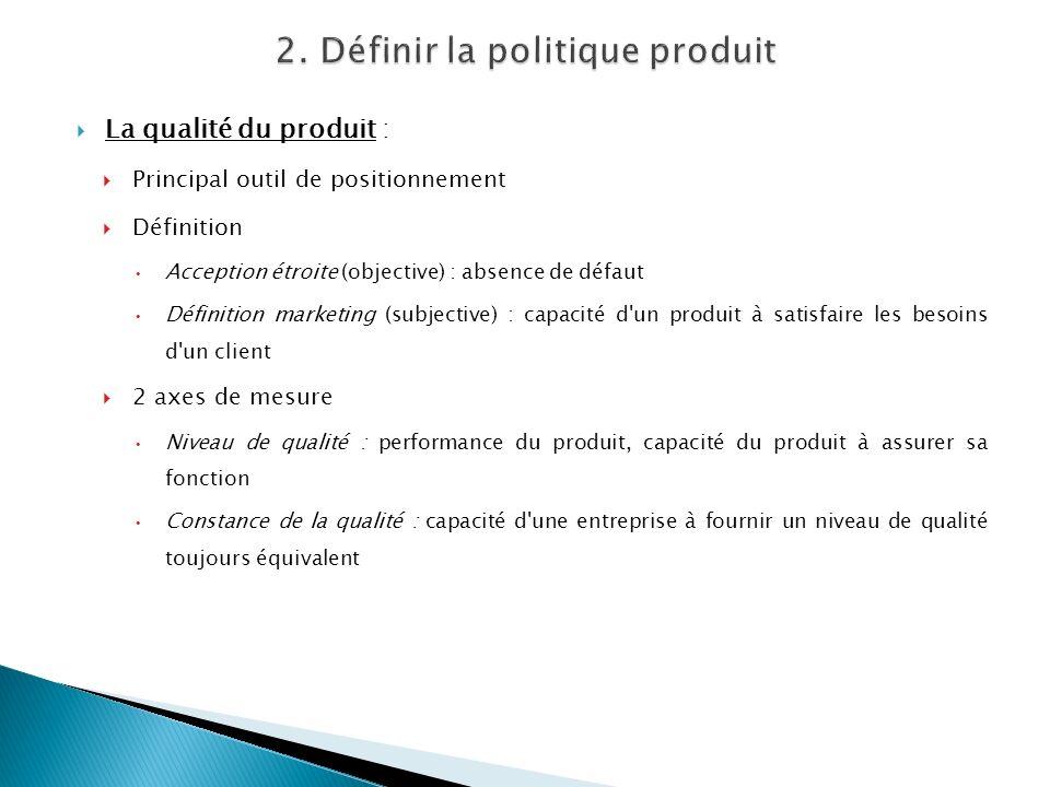 La qualité du produit : Principal outil de positionnement Définition Acception étroite (objective) : absence de défaut Définition marketing (subjectiv